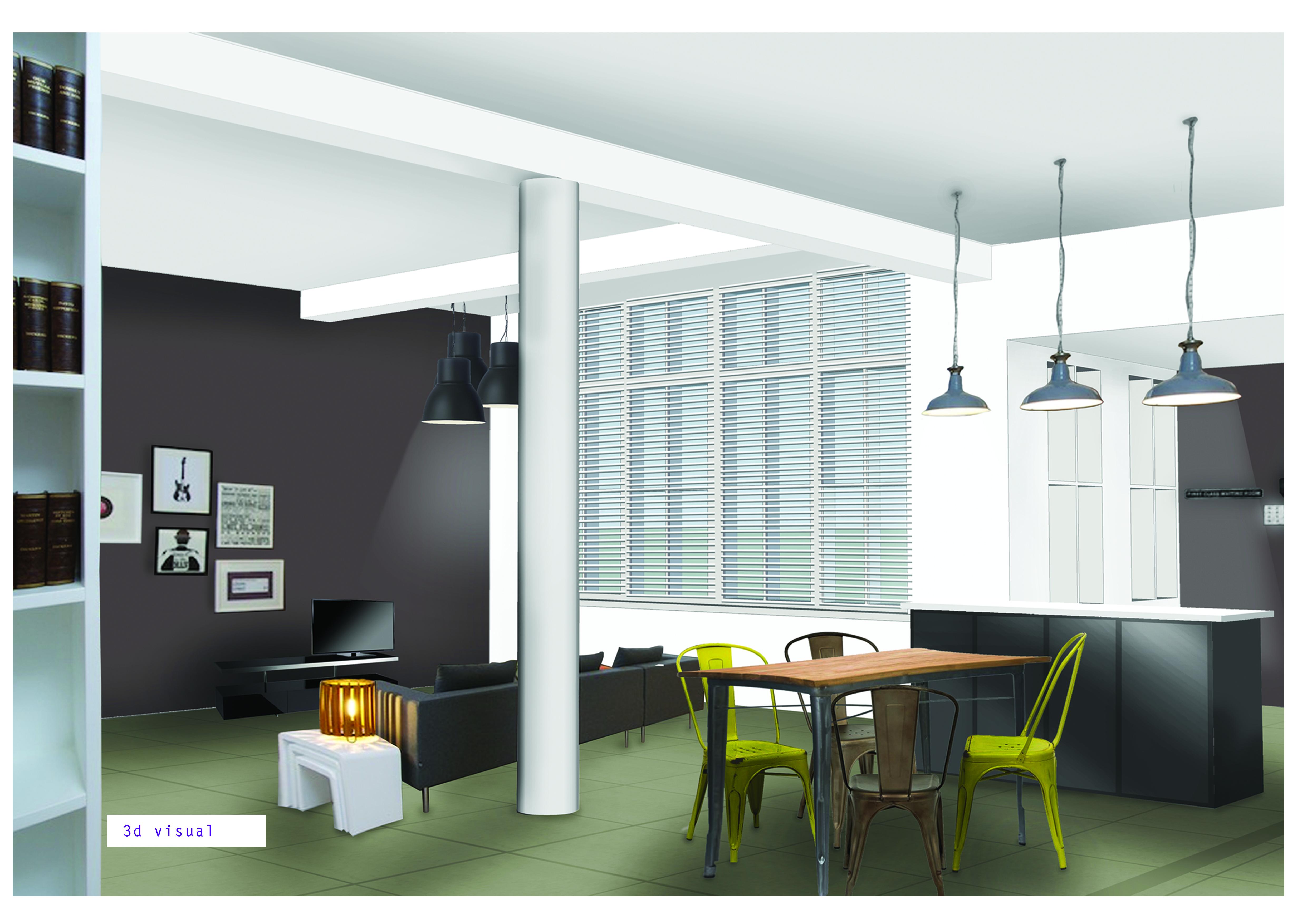 London flat visual 1 commercial interior design by karen for Commercial interior design london
